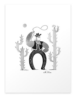 Lucky horseshoe cowboy art print