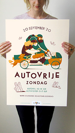 Cammpaign poster and illustration created for the city of Vilvoorde and its Car Free Sunday event
