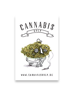 The graphic design and illustration of a poster and gadget design to promote cannabishulp.be, an informative website and aid company bringing awereness around the possible side effects of cannabis use.