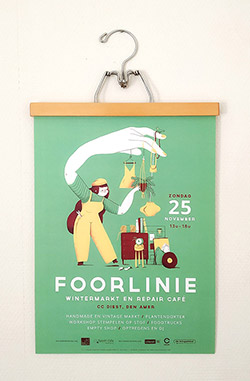 Campaign design and illustration for the Foorlinie, a Winter Market and Repair Café event in the city of Diest.