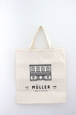 Logo and identity design for Müller, a clothing and accessories store in the city of Diest.