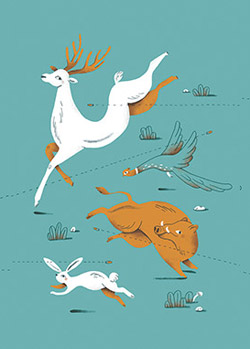 Editorial illustration for Nest Magazine and an article on the hunt in Belgian regions.